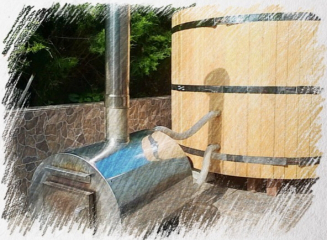 Японская ванна с внутренней печкой. D=160 см. Трехместная PREMIUM